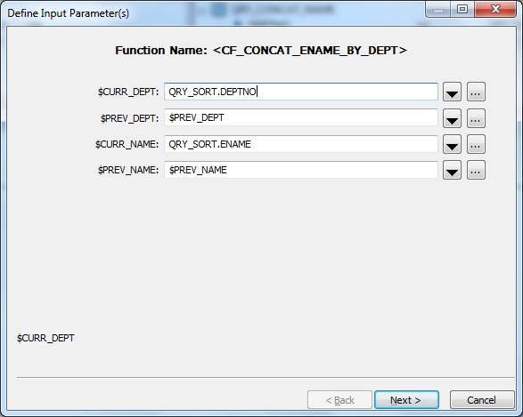 Function Input Parameters