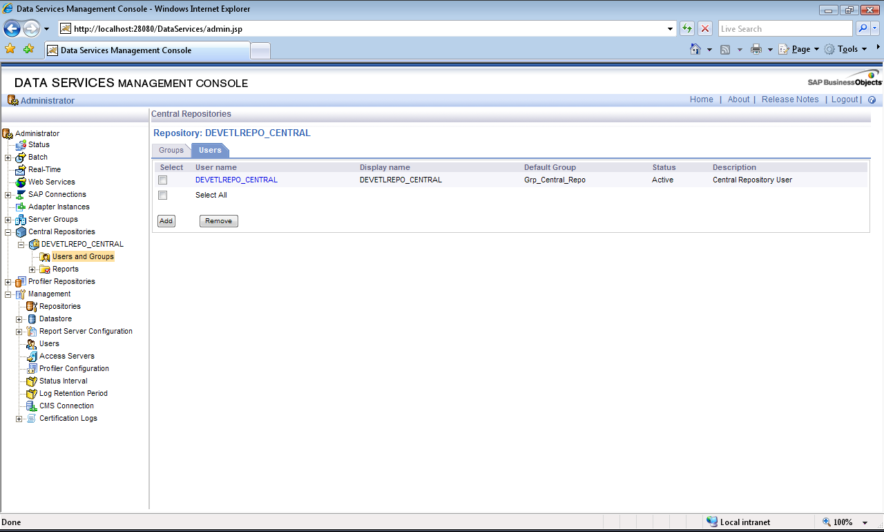 Central Repository User