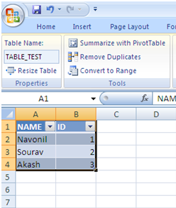 Excel 2007 Table as Source