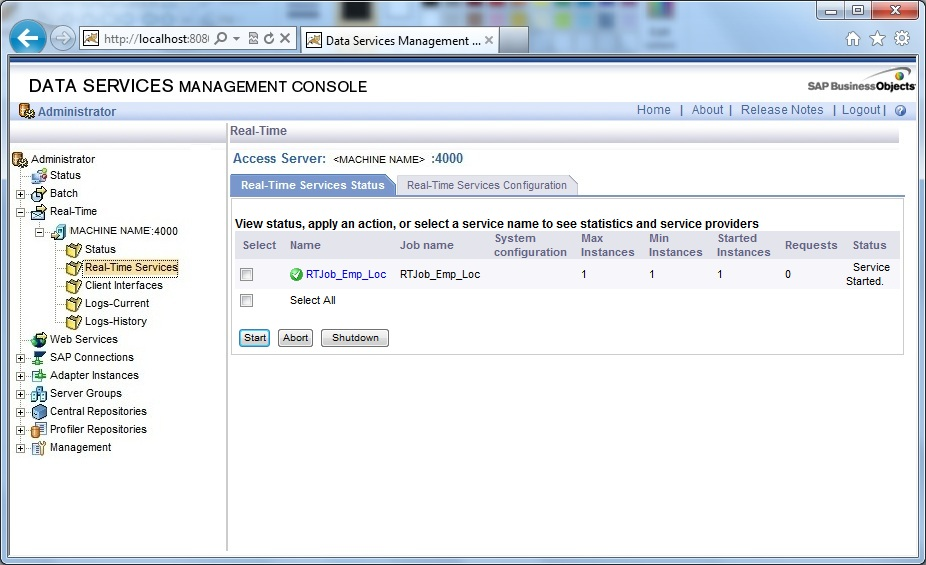 Real-Time Services Configuration