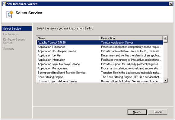 Select Service Resource Wizard